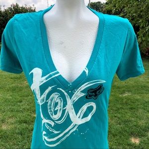 Teal Fox Racing Deep V-Neck Women's Top - Medium